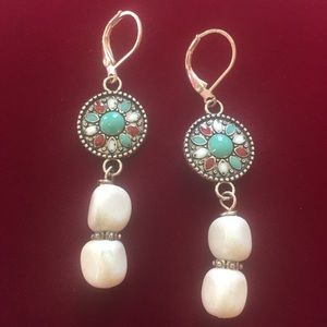 Tribal link earrings with feldspar, NWT